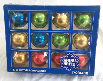 "12 Colorful ""Shiny Brite"" Christmas Ornaments"