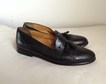 1c9a1c48d1e 8.5 - Mezlan Black Leather Tassel Loafers With Medallion Caps