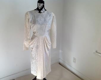 White Pattern Silk Long Sleeve Vintage Dress - 8
