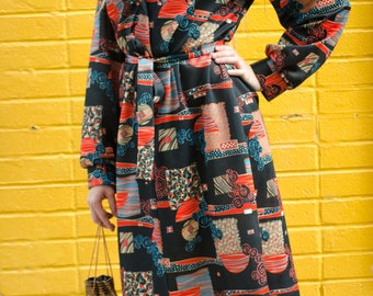 1960s Abstract Print Dress, Joan Curtis, Long Sleeved Print Dress