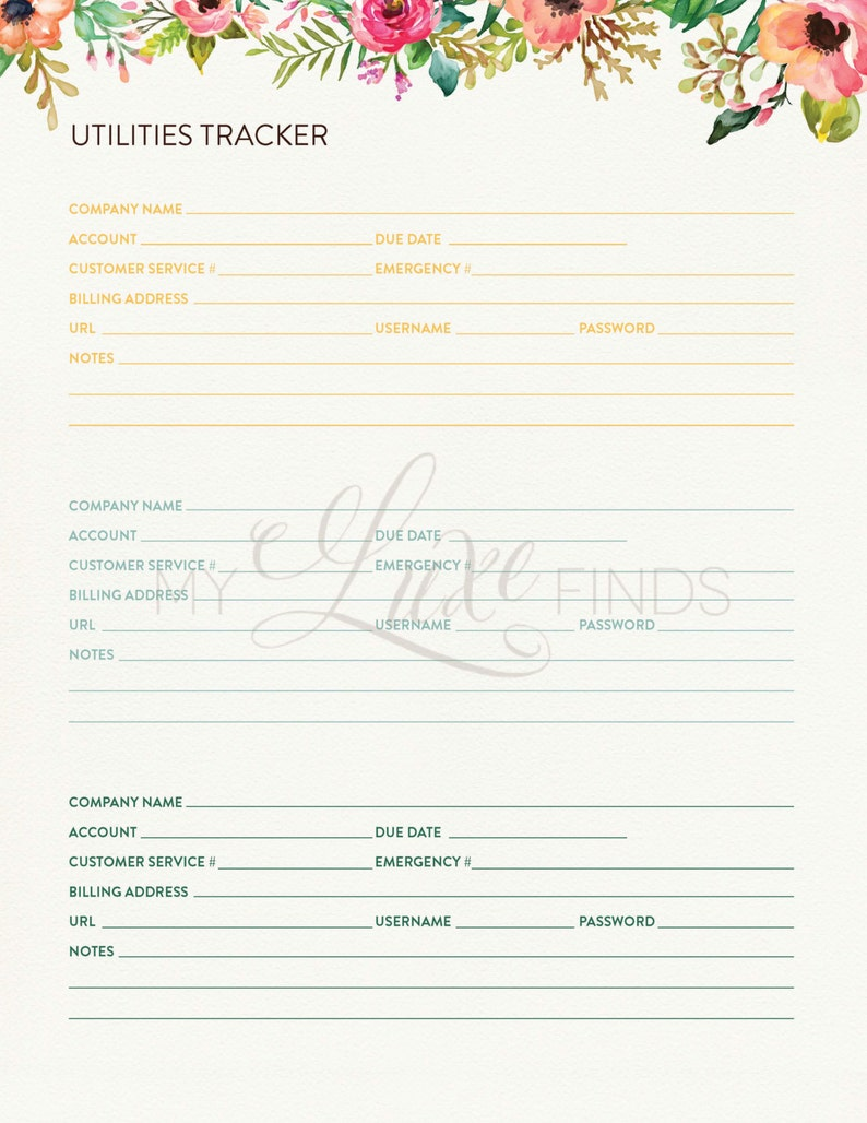 Floral Utilities Tracker and Bill Pay - Home Management Folder - Editable  Printable PDF