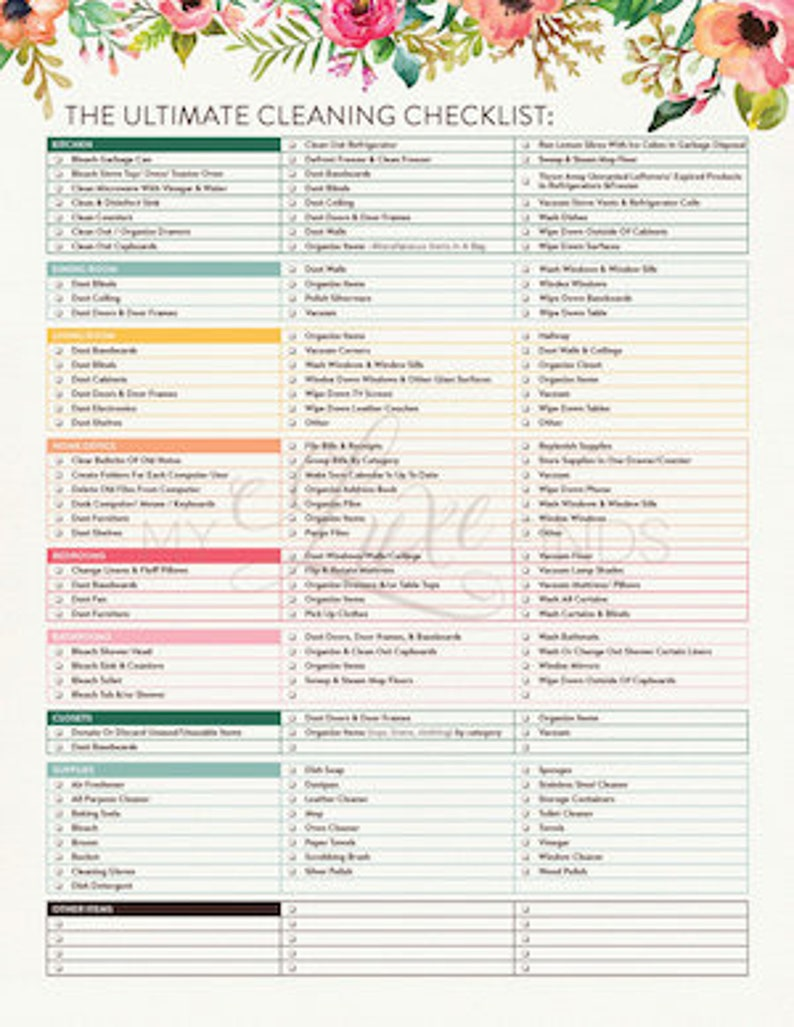 picture about House Cleaning Checklist Printable titled The Supreme Dwelling Cleansing Record Printable PDF
