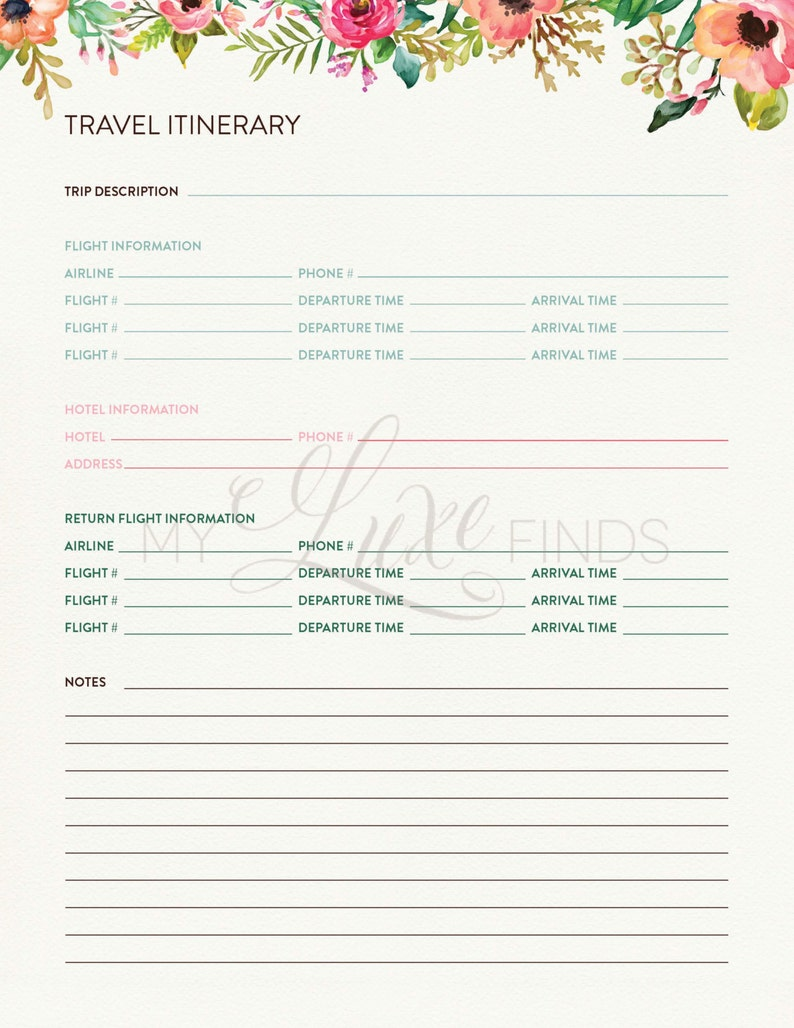 Travel Itinerary & Notes Information Printable - Home Management Folder -  Editable PDF