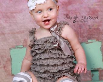 e63f6886514 Gray Lace Romper Optional Matching Chevron Headband Leg Warmers 3 6 9 12 18  24 2T Princess Photo Prop Zig Zag Ruffle Bow Satin Birthday Baby