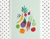 A4 Watercolour produce archival print | fruits & Vegetables