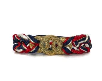 1980s Knot Belt in Red White Blue / 80s Patriotic Elastic Waist Belt / Vintage Metal Knotted Belt Medium M