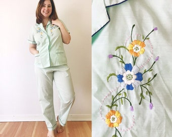 ff27803f2bfc 1970s Embroidered Mint Pajama Set   70s Pastel Green Embroidered Cotton Pjs    Vintage Sleepwear Chinese L XL