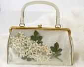 1950s Plastic Vinyl Flower Purse with Lucite Handles 50s Pressed Flowers Kisslock Handbag Vintage Spring Purse