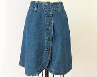 353c3b525ea157 1980s Denim Skirt / 80s Button Front Tulip Jean Skirt / Vintage High  Waisted Denim Skirt LizWear size S