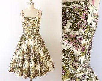 52e2d51ebcc6 Vintage Anthropologie 50s Style Swing Dress / Full Skirt Pink & Green Floral  Dress by Elevenses