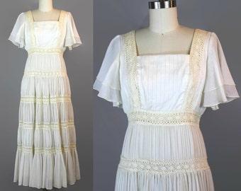 1970s White Crochet Maxi Dress / Small XS 70s Tiered Flutter Sleeve Boho Dress / Cream Hippie Dress