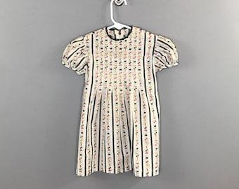 1960s Floral Stripes Girls Dress / Vintage Printed Tulip and Hearts Dress Little Girls Dress / 12-18 month Toddler Dress