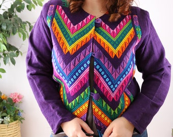 Vintage Guatemalan woven multicolor animal motif cotton fitted jacket sz S hippie boho Latin America