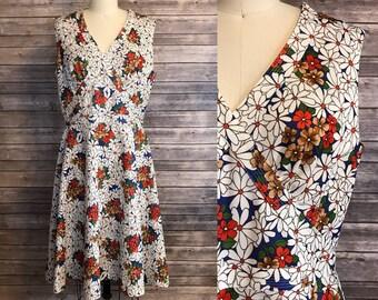 1970s Lane Bryant Dress / 70s Floral A Line Retro Dress / Vintage Flower Power Dress