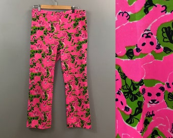 1970s Lilly Pulitzer Pink Cat Pants / 70s Beach Cover Up / Summer Wear Polyester Slacks Trousers