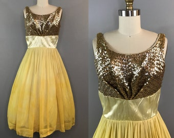 1950s Yellow Ombre Sequin Bust Dress / 50s Belle Disney Bound / Vintage Costume Dress
