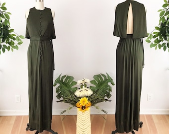 SIZE S 1970s Rodrigues Silk Jersey Green Maxi Dress - Exposed Split Back - Safari Jersey Column Dress