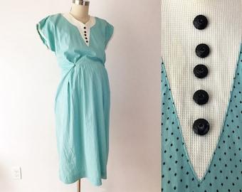 SIZE M /  L 40s Vintage Maternity Dress - Robins Egg Blue Diamond Dot Marian Sue Day Dress - Cotton Retro Modest Babyshower Dress