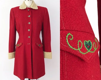 SIZE XS/S 1944 Lanz Originals Red Coat Embroidered Wool Rare Collector Vintage Salzbury