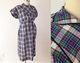 SIZE M /  L 40s Vintage Maternity Dress - Red & Blue Plaid Marian Sue Day Dress - Cotton Dan River Fabric Modest Babyshower Dress