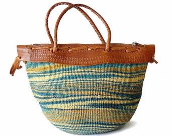 Vintage Sisal Satchel Beach Bag / Leather Handle Blue Sisal Jute Market Tote / Beach Tote Bag / Bohemian Beach Bum Tote