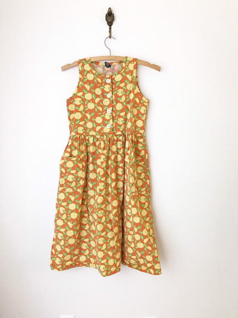 Land's End  Girls 10  Lemon Print Cotton Dress image 0