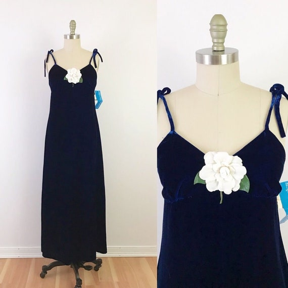 70s Blue Velvet Maxi Dress Luxe Boho Unique