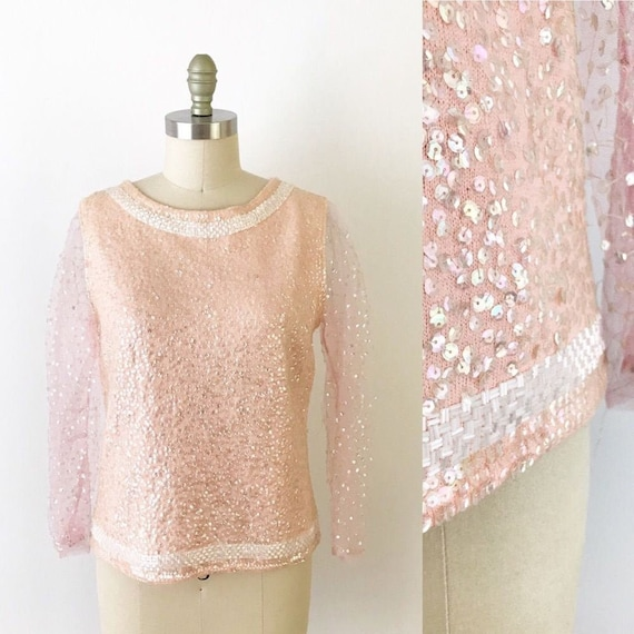 SIZE M Vintage Beaded Sequin Party Knit Pink Sweat
