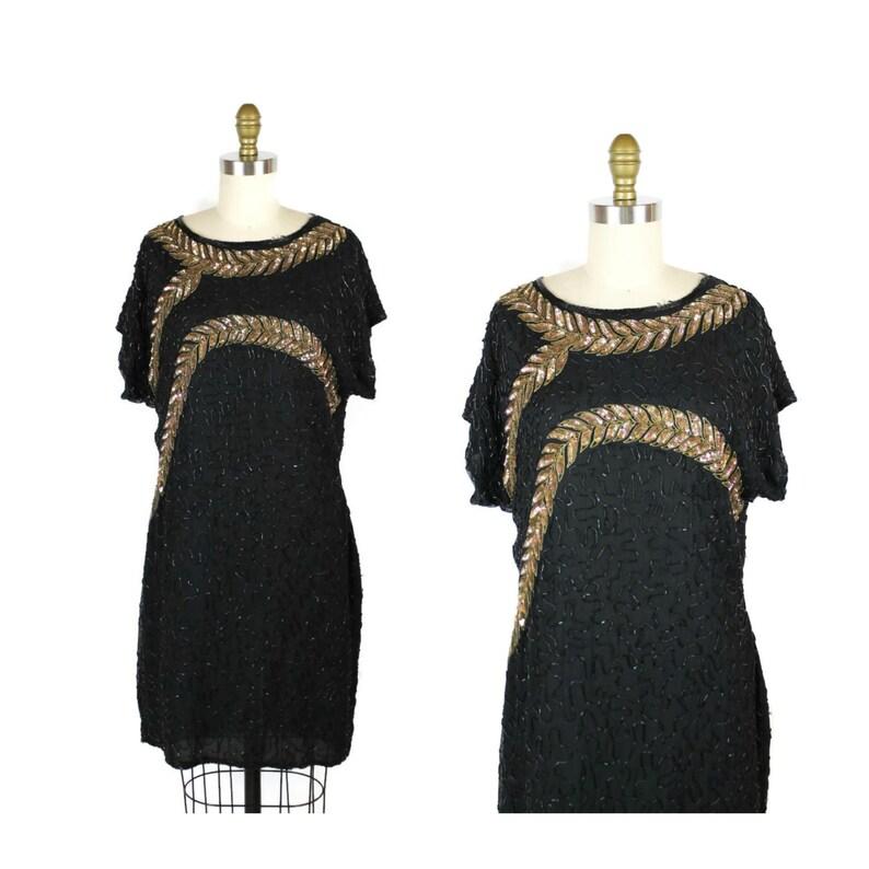 1980s Sequin Dress / Vintage 80s Dress Leaf Motif / Sequin image 0