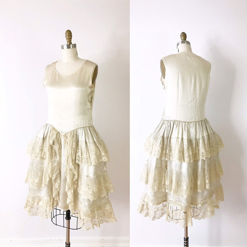 1920s Flapper Wedding Dress / 20s Robe de Style Lace and Silk image 0