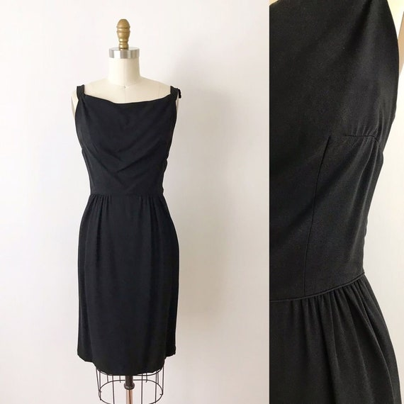 SIZE XXS Vintage Black 60s Sheath Dress Rappi Desi