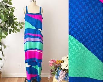 1970s Brijo Silk Maxi Dress - Pink Teal Blue Column Dress Spaghetti Strap Summer Dress