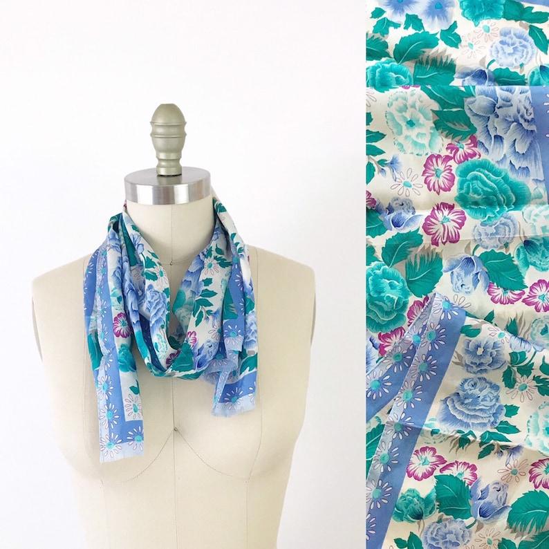 Vintage 1960s Vintage Floral Blue Long Silk Scarf Skinny / image 0