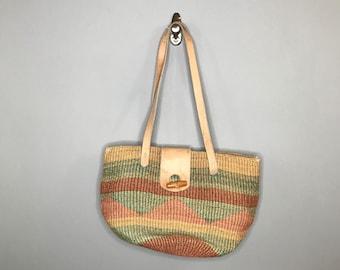Vintage Sisal Satchel Beach Bag / Vintage Sisal Jute Market Tote / Beach Tote Bag / Bohemian Beach Bum Tote