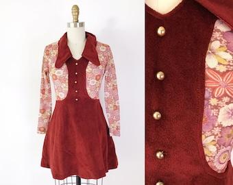 SIZE XS Vintage 1970s Flower Power Mod Mini Dress Cute - Sheer Mesh Sleeves - Maroon Red Fall Collared Velour Velvet