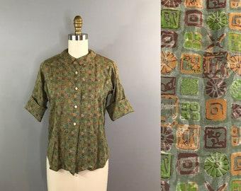 1950s Green Batik Print Blouse / 50s Button Up Collared Shirt / Short Sleeve 1950s Top Pima Cotton