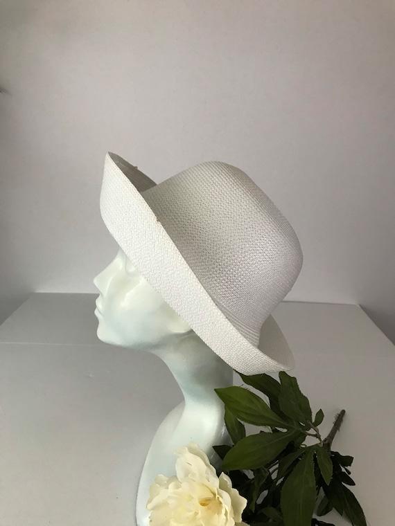 Cottagecore White Curved Breton Straw Hat Summer … - image 3