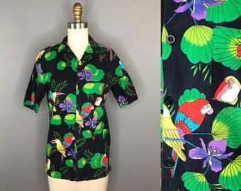 1990s Black Hawaiian Shirt Bright Birds / 90s Toucan Collared Button Down Shirt / Vintage Boys Hawaiian Tee