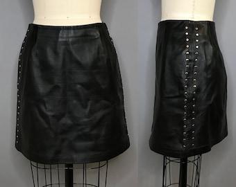 1980s Cache Studded Black Leather Skirt / 80s Black Leather Mini Skirt