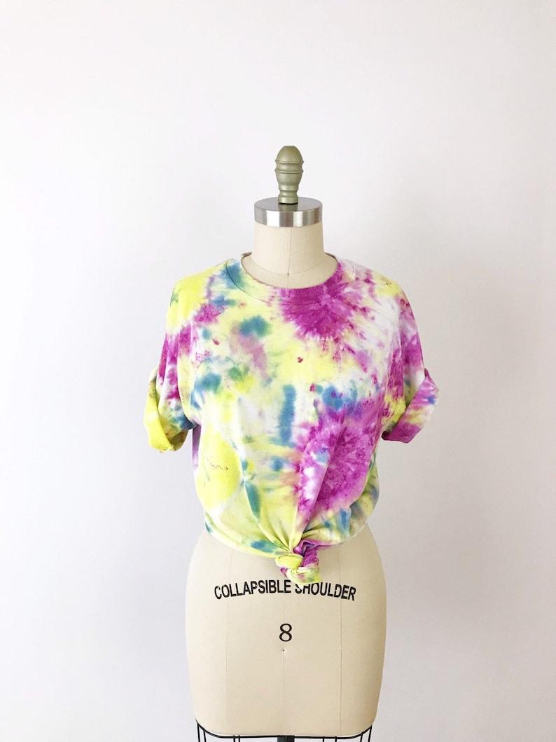 1990s Vintage 90s Tie Dye Cotton T-Shirt Yellow Purple M image 0