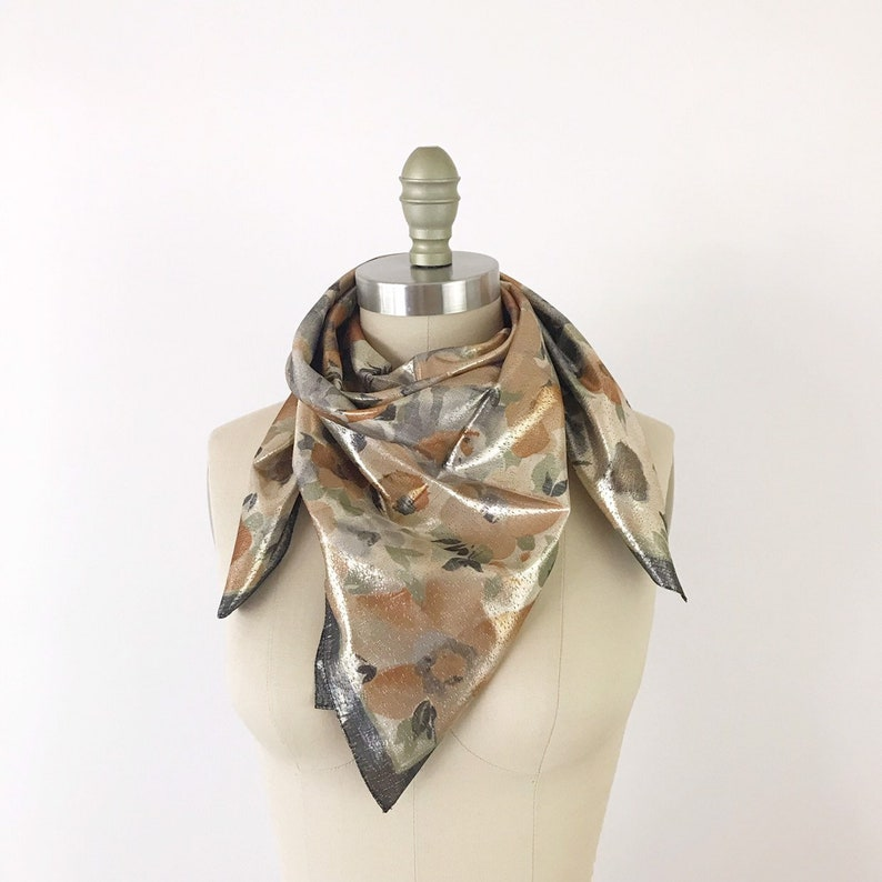 1970s Silver Blossoms Scarf / Vintage Metallic Gold Silver image 0