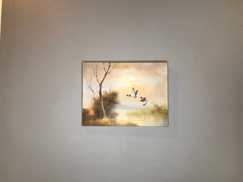 Vintage Flying Ducks Painting / Camp Woodland Home Decor / image 0