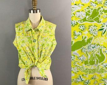 70s Small Safari Yellow Lime Blouse / Collared Sleeveless Shirt 1970s Size Medium / Lilly Pulitzer Key West Hand Print Fabrics Zuzek