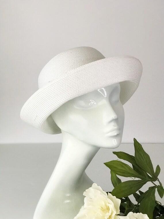 Cottagecore White Curved Breton Straw Hat Summer … - image 1