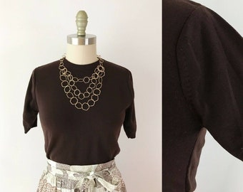 SIZE S Ban-Lon 1960s Brown Nylon Knit Top - Sweater Girl Short Sleeves Chocolate Shirt Small