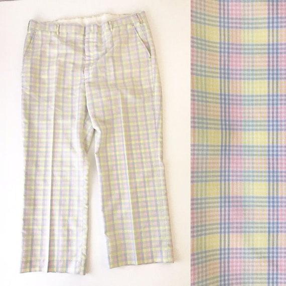 Vintage Men's Pastel Plaid Pants Easter Golf 40