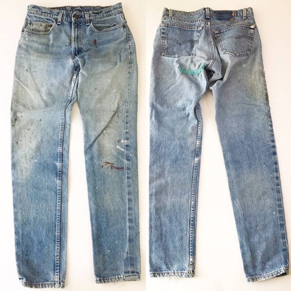 32 WAIST Patched Levis 512 Slim Tapered Painters J