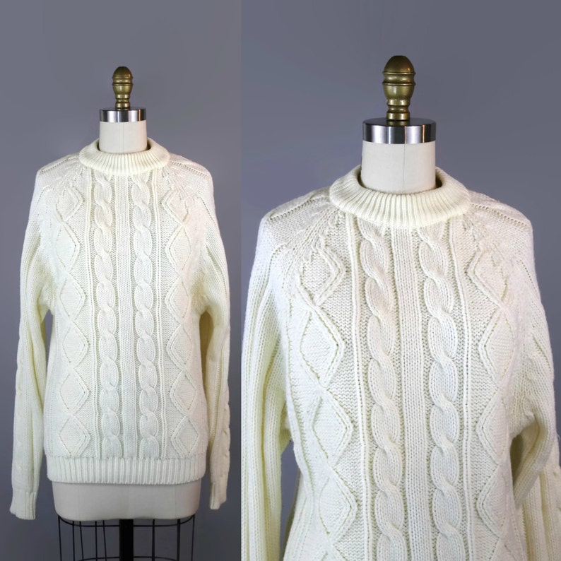 1980s Cream Cable Knit Sweater / 80s Vintage Classic Ski image 0
