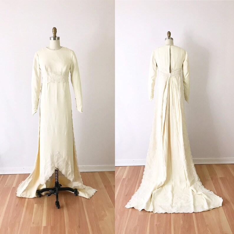 1960s Wedding Dress with Train / 60s Maxi Empire Waist Ivory image 0