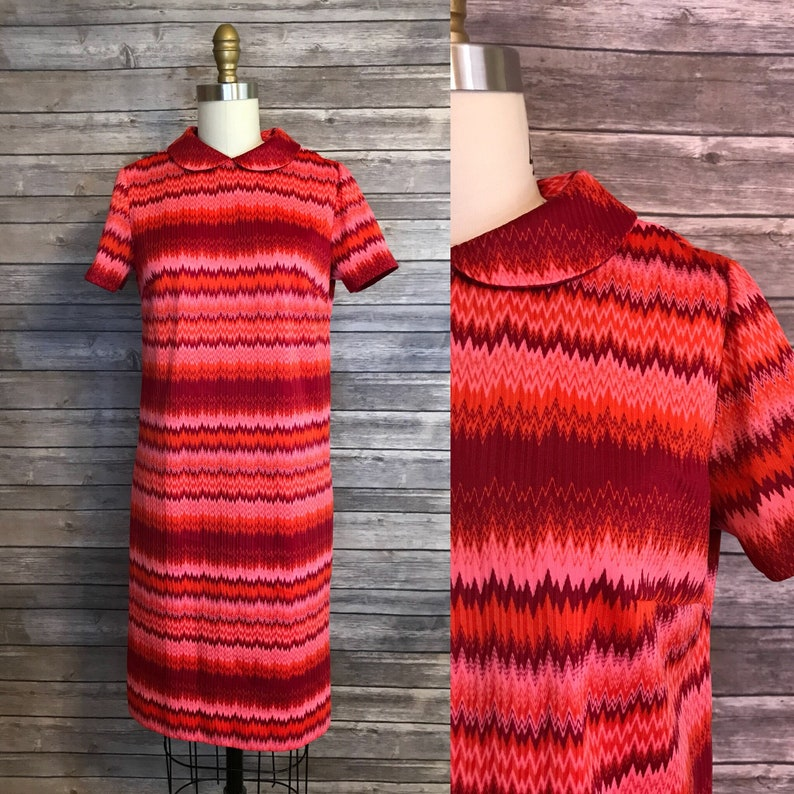 1960s Peter Pan Collar Shift Dress / 60s Chevron Red Dress / image 0
